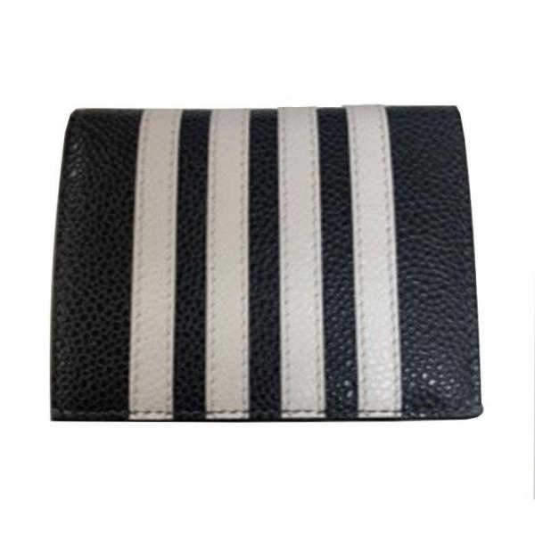 thom browne double card holder s bar applique stripe in pebble